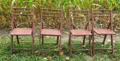 Set of 4 Wood Folding Chairs Church Funeral Wedding Concert Patio Picnic a28