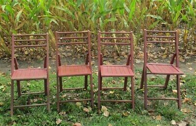 Set of 4 Wood Folding Chairs Church Funeral Wedding Concert Patio Picnic a29