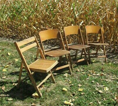 Set of 4 Wood Folding Chairs Church Funeral Wedding Concert Patio Picnic a32