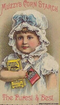 Victorian Trade Card - Muzzy's Corn Starch, Elkhart, Ind., The Purest & Best