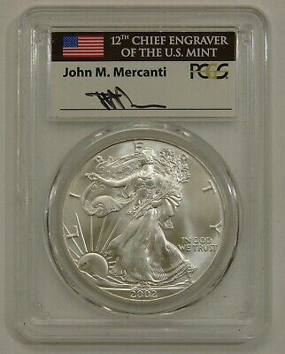 2002 - Silver American Eagle - Signed by John M. Mercanti - PCGS GEM UNC