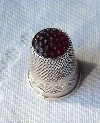 ANTIQUE STERLING SILVER THIMBLE WITH RED GLASS TOP SILVER 925 ? DANISH 4.2g