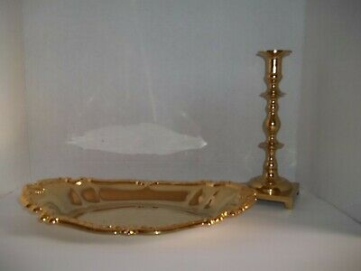 Vintage Brass Candlestick Candle Holder & Embossed Oval Brass Tray Centerpiece