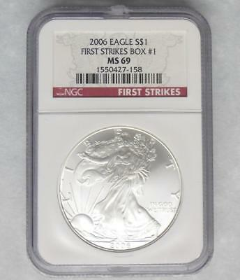 2006 NGC MS69 American Silver Eagle Dollar from First Strikes Box #1, 1oz Silver