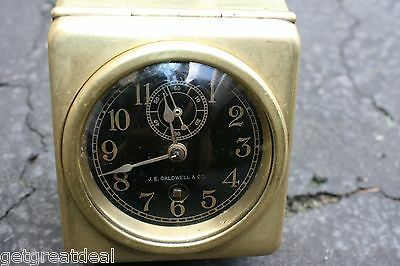 "VINTAGE J.C. Caldwell Chelsea Movement Brass Automobile  2 ¾"" Clock"