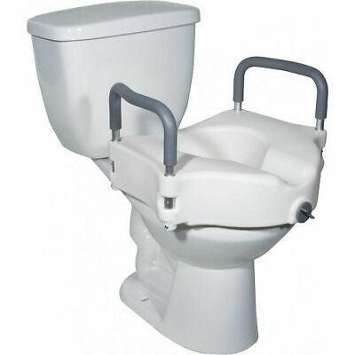 Lumex Locking Raised Toilet Seat with Removable Arms in White