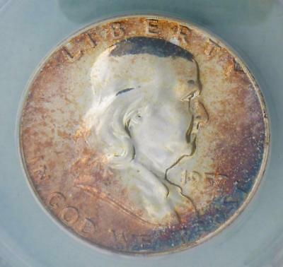 1957 ANACS Proof 66 Franklin Silver Half Dollar, Gem PF 66 Coin, Nice Color Tone