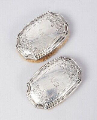 Vintage Pair 1920s Art Deco Tiffany & Co Sterling Silver Mens Clothes Brushes