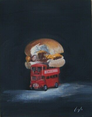 "Frank Laszlo Original Oil Painting. FAST FOOD.    6""x 8"""