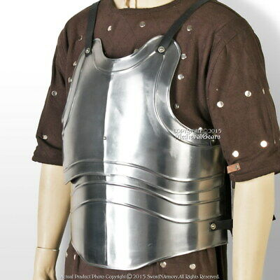Large Size Medieval 18 Gauge Steel Body Armor Breast Plate Fluted Cuirass LARP