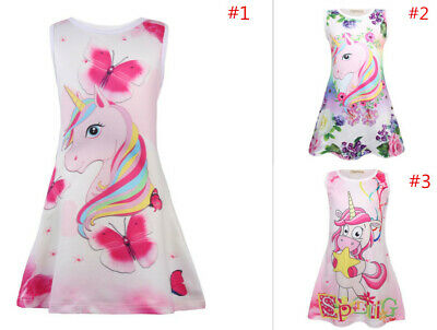Lovely Kids Girls Unicorn Floral Dresses Sleeveless A Line Casual Party Dress
