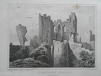 Original Antiquarian Welsh Engraving; Caerphilly Castle - c1830 - Glam/Wales
