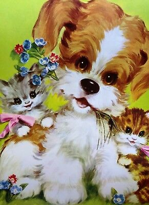 WIRE FOX TERRIER & KITTENS  Vintage  11 x 14 Print 4 Child's Room COLORFUL!