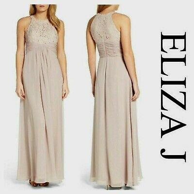 Eliza J Beaded Lace Chiffon Gown Embellished Evening Dress