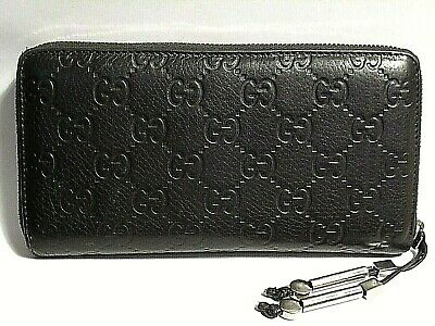 36b004184cb AUTHENTIC GUCCI ZIPPER Wallet   Card Holder Black Logo Leather in ...