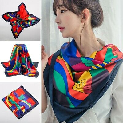 Red Picasso Paint Scarf Women's Head Print Square Fashion Satin Shawl 90*90cm