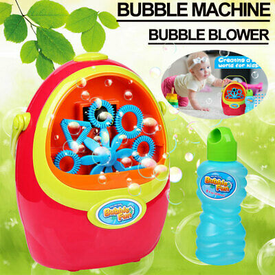 Automatic In/Outdoor Automatic Bubble Blower Blowing Maker w/ Solution Kids Toys