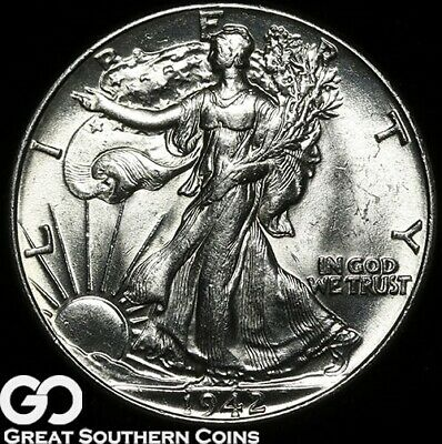 1942 Walking Liberty Half Dollar, Lustrous White Gem BU++