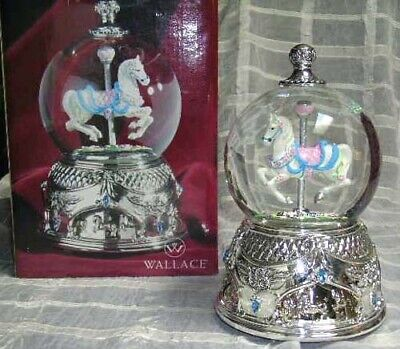 Wallace Water Globe Horse Carousel Waltz Musical Glass Silver Plated New