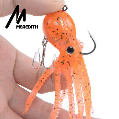 Silicone Saltwater Octopus Bait hook Squid Skirt Lure Fishing Tackle long tail