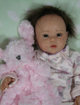 """Ping Lau """"Raven"""" Reborn Baby Doll 18"""" Tall 5 Pounds Rooted Hair Lucie Girard"""