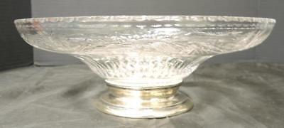 Signed Hawkes Intaglio Cut Glass and Sterling Silver Console Bowl