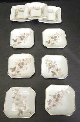 9 Antique Aesthetic Movement Butter Pats - 2 Patterns
