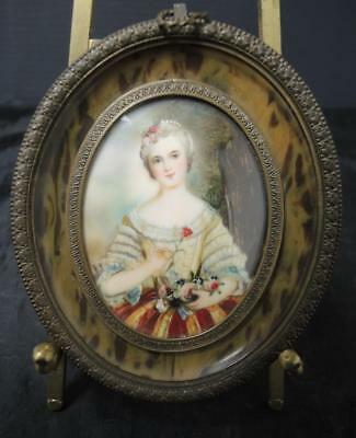 "Antique French Miniature Portrait * Artist ""V. Day"" Artistocrat Woman Roses"