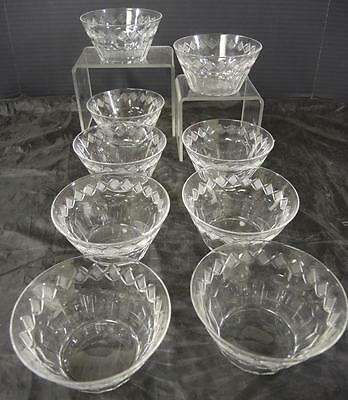 Eight Antique Hawkes Finger Bowls * Munster Pattern