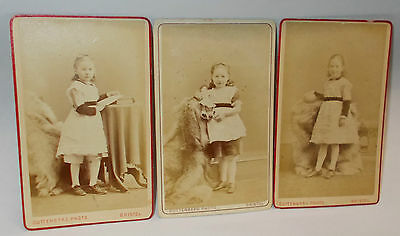 Antique Circa 1870s CDV Photos of Little Girls,Guttenberg Photo Bristol England