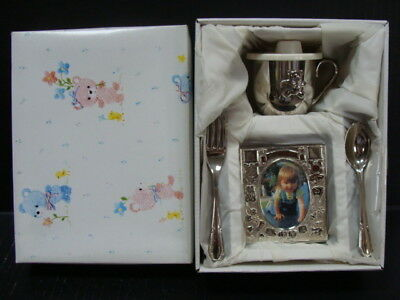 Towle Silversmiths~ Silverplate Baby Gift Set~ Fork, Spoon, Sippy Cup, Pic Frame