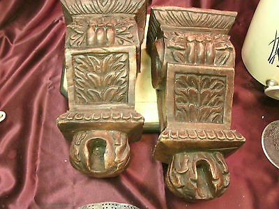 "Atq? 2 Corbel Wall Shelf Brackets-Heavy Wood Carved Sconces-13""L x 7""W x 5""D-F/S"