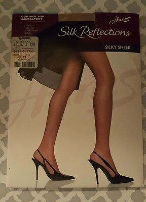 363d561485f Hanes Silk Reflections Control Top Sandalfoot Pantyhose Silky Sheer size AB   717