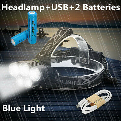 100000LM LED Headlamp 5X T6 Headlight Torch Rechargeable Super-bright Flashlight