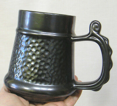 "Vintage Prinknash Pottery Ornate Handled Mug with Metallic Glaze 5"" Tall"