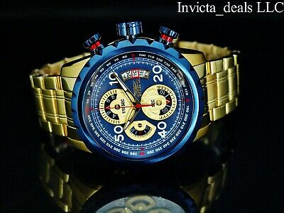 Invicta Men's Aviator Bolt Flight Chronograph Blue Dial 18K Gold Plated SS Watch