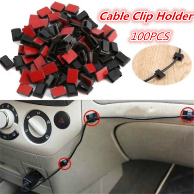 100pcs Self Adhesive Cable Clips Wire Holder Cord Organizer Fixed Clamps for Car