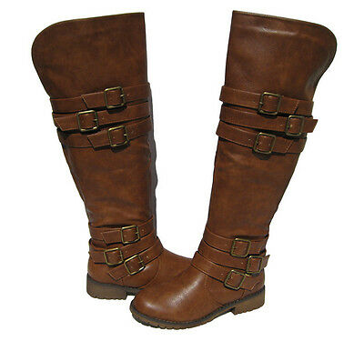 bc1d2fe2923 New Women s Riding Boots Tan Over the Knee Shoes Winter Snow Ladies size 6