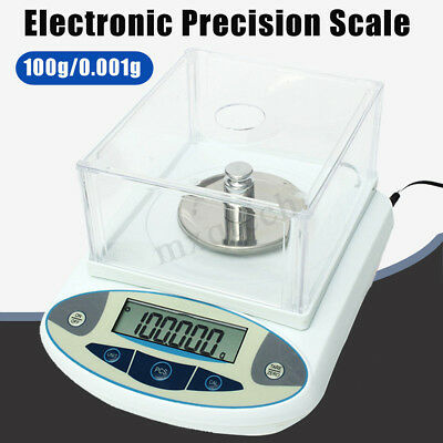 100 x 0.001g Solid 1mg Digital Lab Analytical Balance Electronic Precision Scale