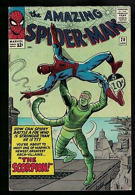 Marvel comics  20 FN- 5.5  Spiderman Amazing 1st appearance Scorpion 1964