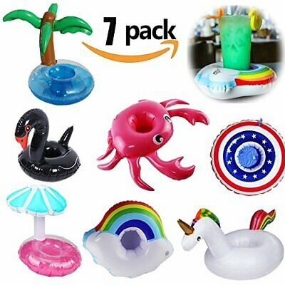 Yojoloin 7PCS Inflable Pool Float Drink Cup Holder, Posavasos inflables para la