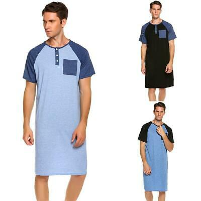 Men Comfort Henley Short Sleeve Nightshirt Patchwork Sleep Shirt LEBB