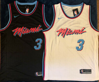 7ada493a6 Men s  3 Dwayne Wade Miami Vice City Edition White   Black Stitched Jersey