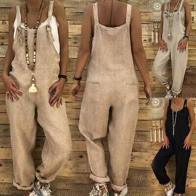 Womens Ladies Casual Loose Linen Jumpsuit Dungarees Playsuit Trouser Overalls PA