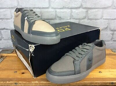 Polo Ralph Lauren Mens Uk 7 Eu 41 Hugh-Ne Grey Canvas Leather Trainers