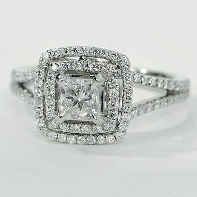 Certified 2.37Ct Princess White Diamond Engagement Ring in Solid 14K White Gold