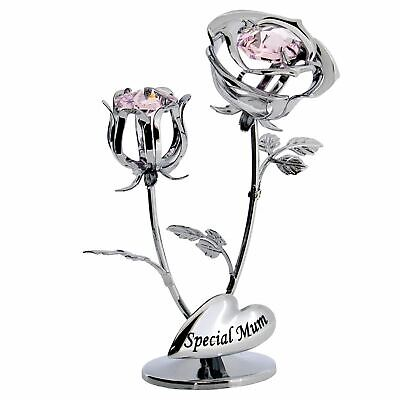 Crystocraft Silver Rose and  Bud Special Mum with Pink Swarovski Crystal Gift
