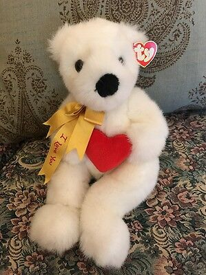 """Ty Romeo White Plush Teddy Bear Red Heart Love You Valentines Gift 15"""" #1S"""