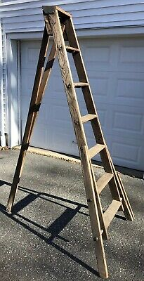 "Vintage Antique Apple Orchard Ladder 6' 8"" Tall Quilt Rack Farm Primitive"