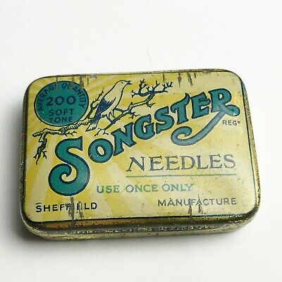 Vintage Gramophone Needle Tin Songster Needles 200 Needle Tin